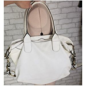 cromia Bags - Cromia White Soft Pebble Leather Shoulder Bag